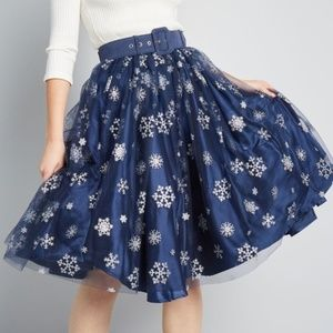 Collectif ModCloth Blue Snowflake Tulle Skirt